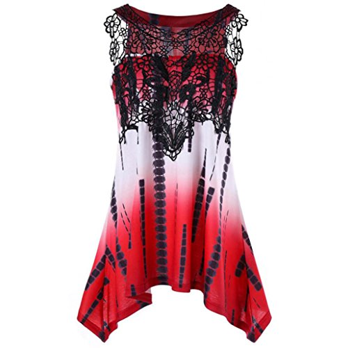 Price comparison product image vermers Tunic Tops Womens Casual Lace Printing Sleeveless Vest Shirt Tank Blouse (Red,  XL)