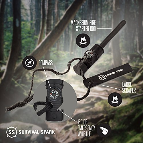 Survival Spark Magnesium Survival Fire Starter with Compass and Whistle
