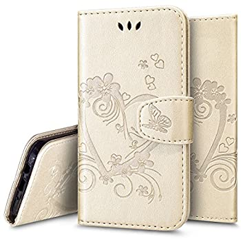 Galaxy J7 V Case,Galaxy J7 Sky Pro / J7 Perx Case,PHEZEN Vintage Emboss Flower Love Heart PU Leather Wallet Flip Protective Case Cover with Card Slots & Kickstand for Samsung Galaxy J7 2017, Gold