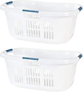 Rubbermaid 2.1 Bushel Small Hip Hugger Portable Plastic Home Laundry Basket with Grab Through Handles, White (2-Pack)
