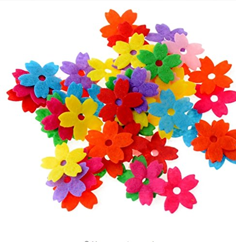 200PCS Assorted Shape Multicolor Fabric Embellishments Felt Pads Appliques for DIY Craft Decoration and Sewing Handcraft (Small flowers) by Flyott