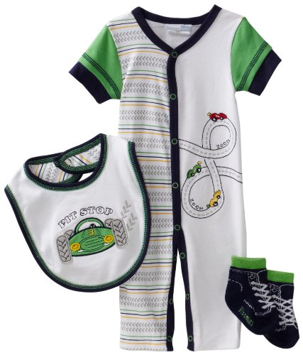 Vitamins Baby Baby-Boys Pit Stop 3-Piece Coverall Set