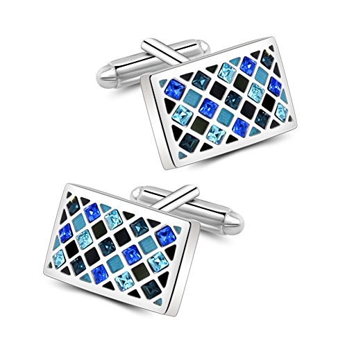 Mr.Van Elegant Swarovski Crystal Cufflinks Blue Glimmering Cuff Links Set Wedding Christmas Gifts for Him