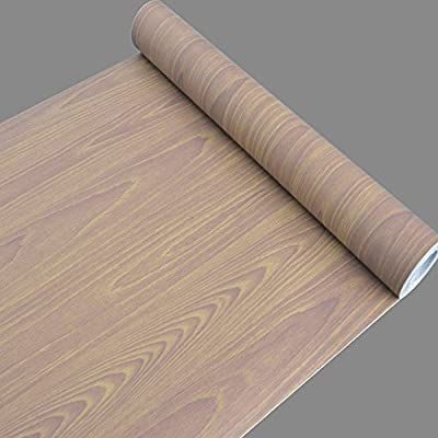 SimpleLife4U Oak Wood Grain Self Adhesive Wallpaper Roll for Bedroom Kitchen Living Room TV Setting Wall 17.7 Inch by 32.8 Feet