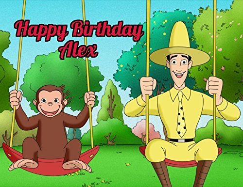 - Curious George Edible Image Photo Cake Topper Sheet Personalized Custom Customized Birthday - 1/4 Sheet - 78059