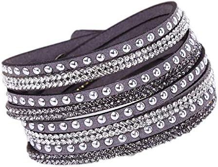 Daawqee Armbänder New Leather Bracelet Rhinestone Crystal Bracelet Wrap Multilayer Bracelets for Women Feminino Pulseras Mulher Jewelry