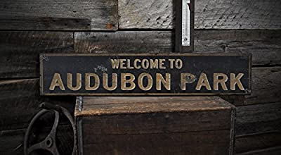 Welcome to AUDUBON PARK, KENTUCKY - Rustic Hand-Made Vintage US City Wooden Sign