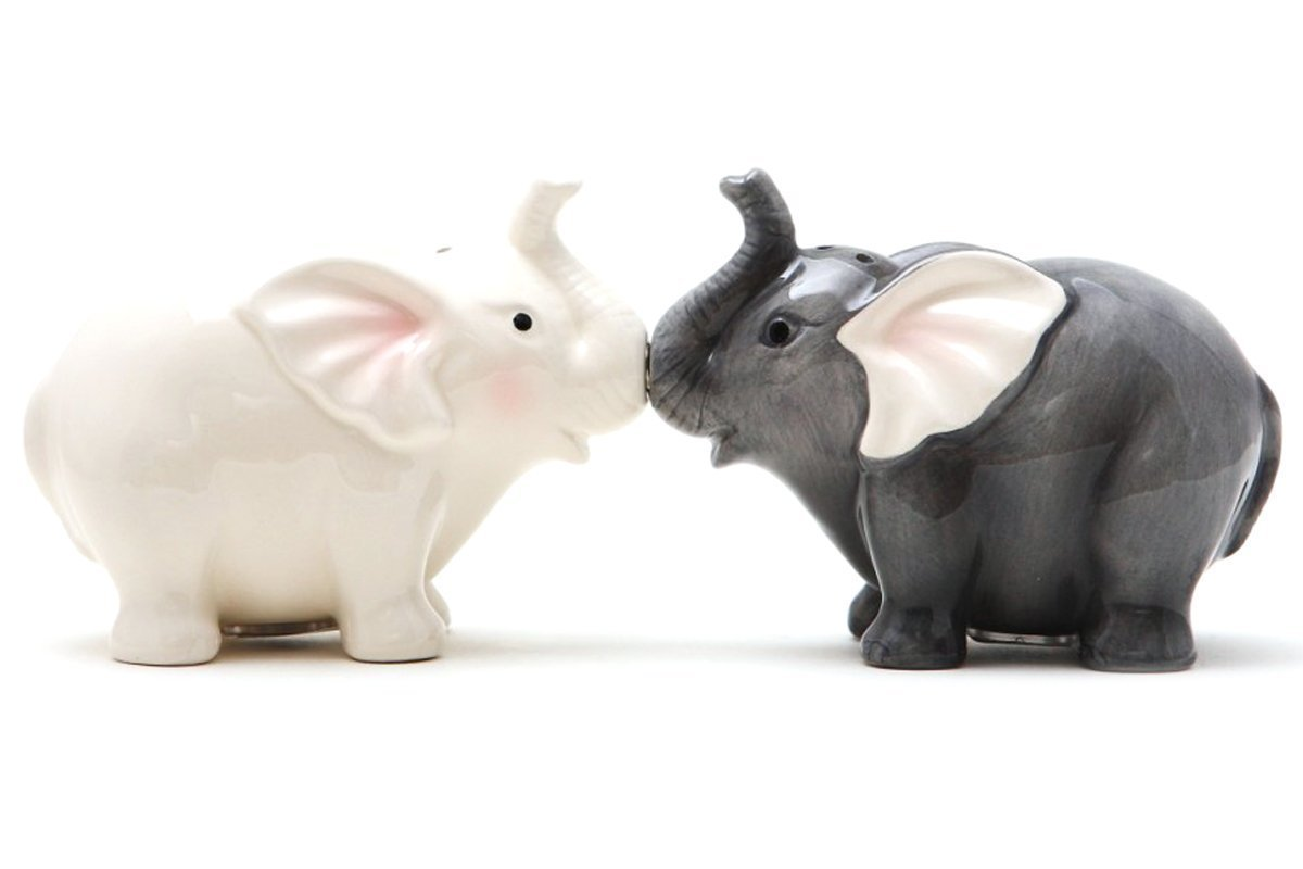 1 X Ceramic Magnetic Salt and Pepper Shaker Set - Elephants They Kiss 8795