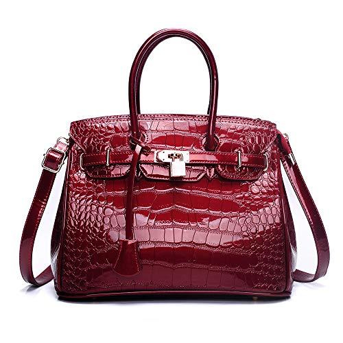 Vivian To Alligator Embossed Enamel Leather Shoulder Bag Top-handle Bag Handbag (wine red)
