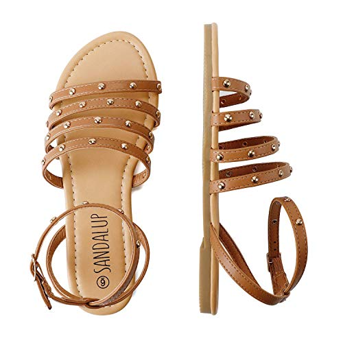 SANDALUP Flat Sandals with Round Rivets and Adjustable Buckle for Women Brown 05.5
