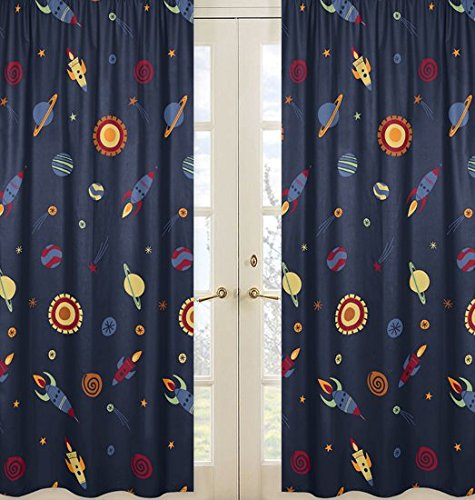Sweet Jojo Designs 2-Piece Galactic Planets Rocket Ship Window Treatment Panels for Space Galaxy Collection