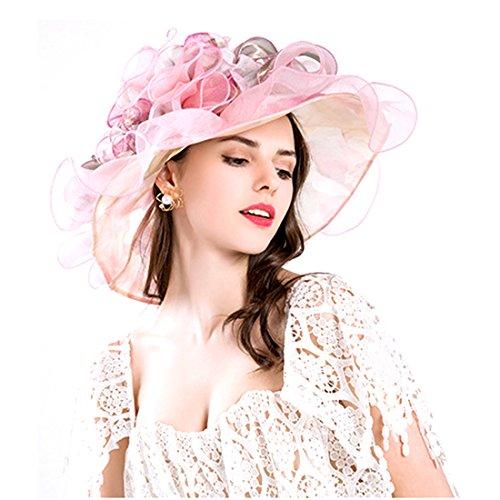 207413a8f1230 Women Foldable Organza Church Derby Hat Ruffles Wide Brim Summer Bridal Cap  for Wedding Tea Party