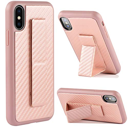 iPhone Xs Case, iPhone X Kickstand Case, ZVEdeng Vertical and Horizontal Kickstand Hand Strap Foldable Stand Carbon Fiber Texture Phone Strap Slim Case for Apple iPhone Xs/X 5.8 Rose Gold