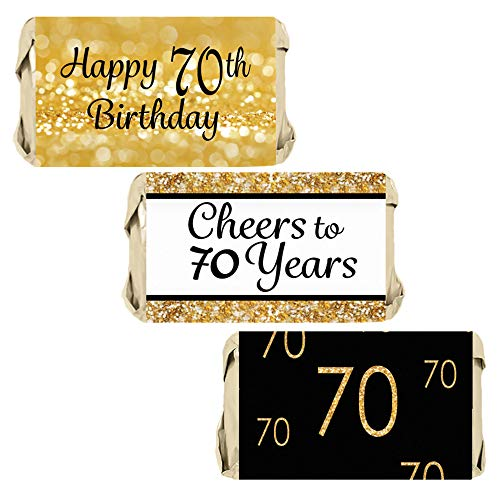 DISTINCTIVS Black and Gold 70th Birthday Party Mini Candy Bar Wrappers | 45 Stickers