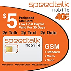 $5 SIM Card Preloaded with 1st Month Ser...