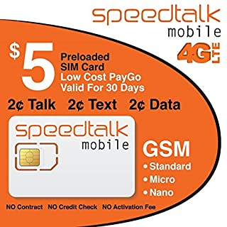 $5 SIM Card Preloaded with 1st Month Service No Contract