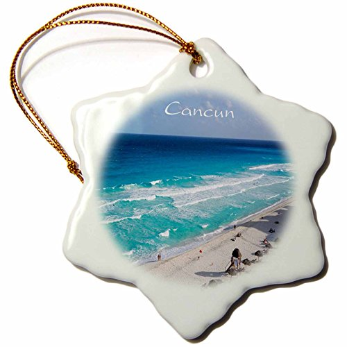 3dRose All Things Mexican - Image of Beach At Cancun Mexico - 3 inch Snowflake Porcelain Ornament (orn_255515_1) by 3dRose