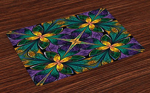 Ambesonne Fractal Place Mats Set of 4, Antique Ornate Symmetric Stained Glass Mosaic Window Style Floral Tile Pattern, Washable Fabric Placemats for Dining Table, Standard Size, Purple Green