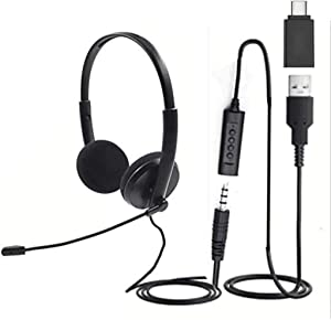 Quality Sound Headset, USB, 3.5 and USB-C, with Microphone, Noise Cancelling mic, Mute Button LED, Laptop, PC, MAC, Zoom, Skype, Video Conference Calls, Lightweight Headphones with mic Boom