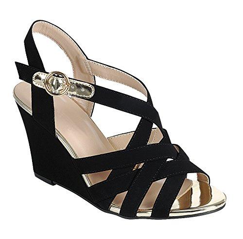 Cambridge Select Womens Open Toe Crisscross Woven Lattice Cutout Ankle Strappy Buckle Wedge Sandal Black 2l5K7