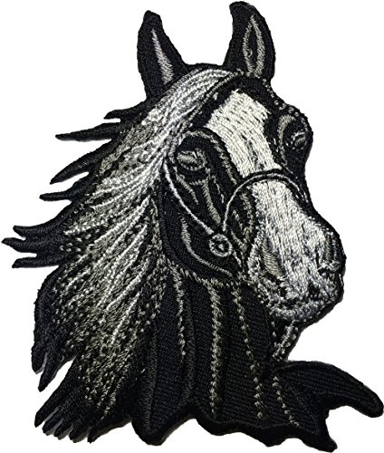 Papapatch Horse Head Riding Racing Farm Kids Children Baby Jeans Jacket Bag Sewing Iron on Embroidered Applique Emblem Badge Costume Patch - Black - Iron Embroidered Applique Horse