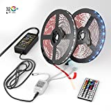 NEW 2018 LED Strip Lights Kit - 32.8ft (10M) 300 LEDs SMD 5050 RGB Light with 44 Key Remote Controller, Extra Adhesive 3M Tape, Flexible Changing Multi-Color Lighting Strips for TV, Room