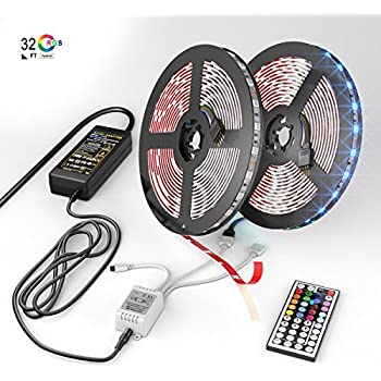 NEW 2018 LED Strip Lights Kit – 32.8ft (10M) 300 LEDs SMD 5050 RGB Light with 44 Key Remote Controller, Extra Adhesive 3M Tape, Flexible Changing Multi-Color Lighting Strips for TV, Room (RGB-A)