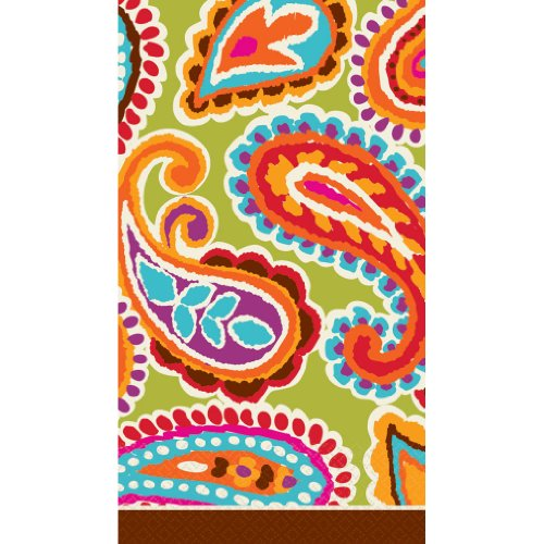 Amscan Highly Absorbent Paisley Bright Hand Towels (16 Pack), 12-7/8 x 15-5/8