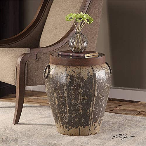 Uttermost Neith Glass Top Metal Drum End Table