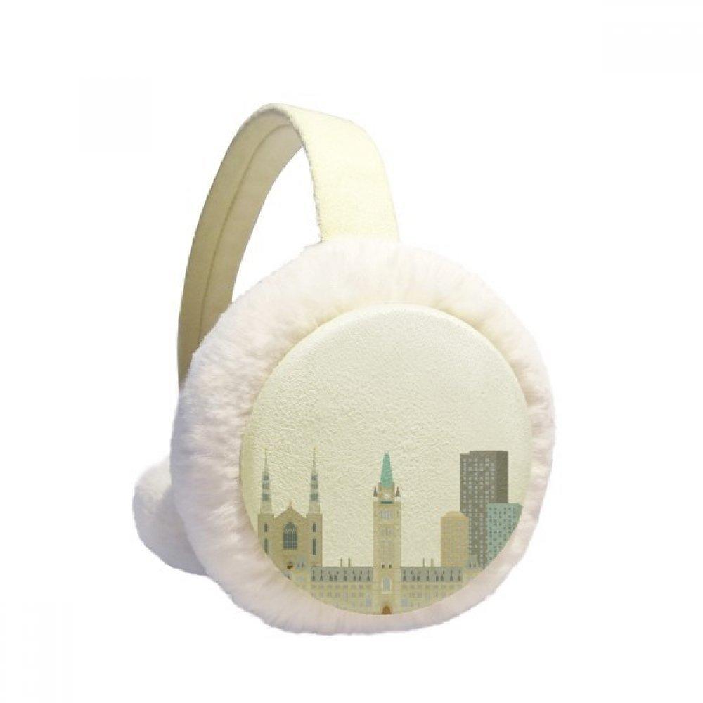 Canada Landmark and City Church Winter Earmuffs Ear Warmers Faux Fur Foldable Plush Outdoor Gift