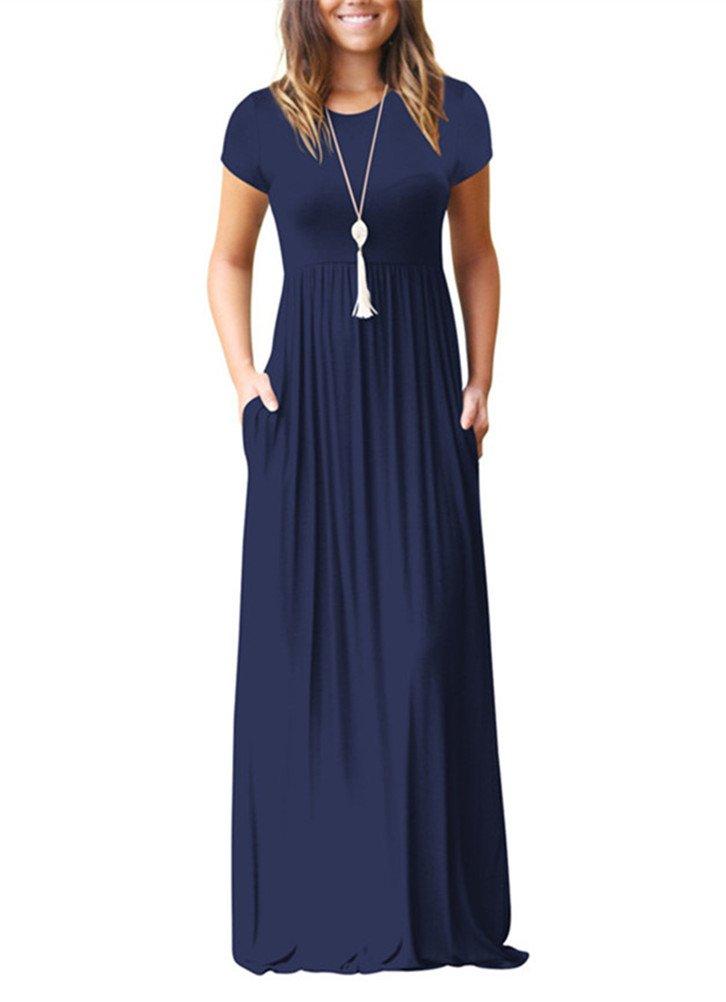 Women's Casual Plain Loose Swing Pocket Long Dress Short Sleeve Maxi Dresses (Dark Blue, L)