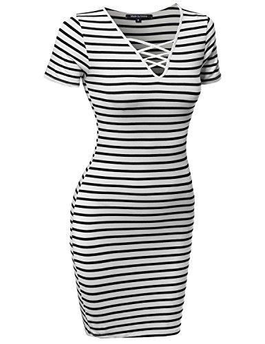 [Lattice-Front Stripe Short Sleeves Dress Soft White Black L] (Black White Stripe Dress)