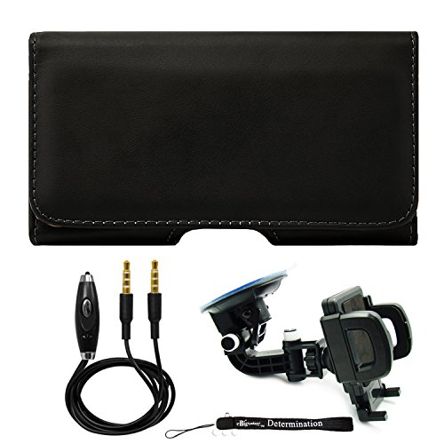 Click to buy Premium Black Leather Belt Clip Hip Wallet Holster [CEL953] For Lenovo Vibe Shot + Windshield Car Mount & AUX Cable - From only $22.98