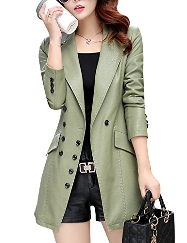 Tanming Women's Button Front Faux Leather Blazer Coat Jacket (Large, (Button Cuff Leather Blazer)