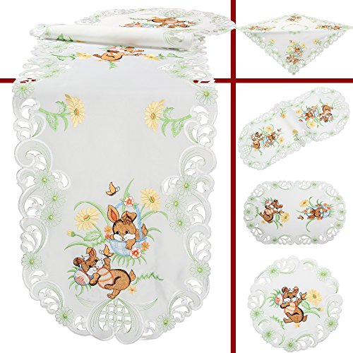 Quinnyshop Brown Bunny Flower Easter Embroidery Tablecloth for sale  Delivered anywhere in Canada