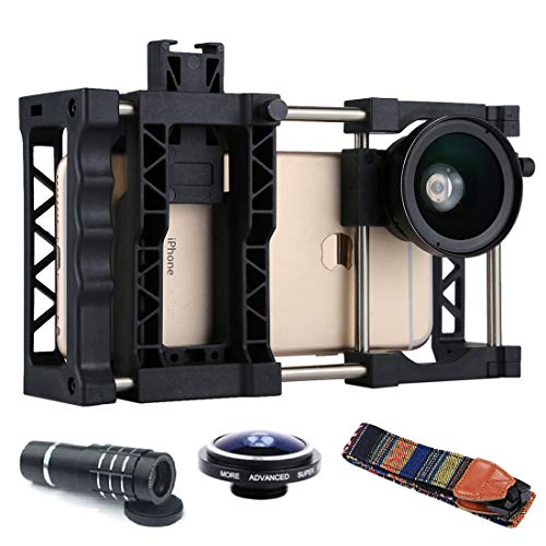 Wblue Mobile Camera accessories PAPHOTO Universal Adjustable Mobile Phone Cage+0.45X Wide Angle Lens+MACRO Lens+Belt+Telephoto Telescope+Fisheye Lens, For iPhone, Samsung, Huawei, Xiaomi, HTC and Othe