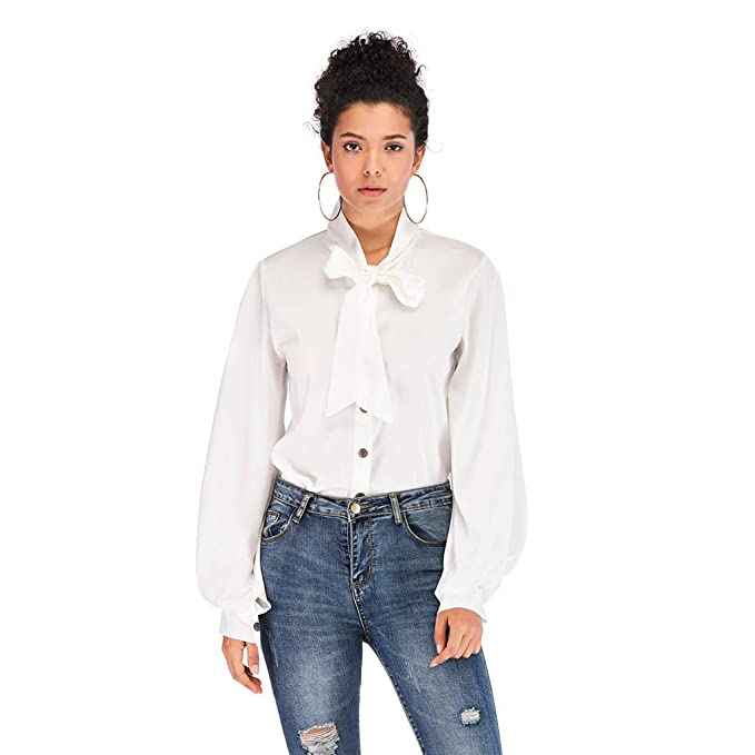93bd176c1e1 Fashion Women s Solid Color Chiffon Blouse Business Button Down Shirt for  Work Casual with Long Sleeve