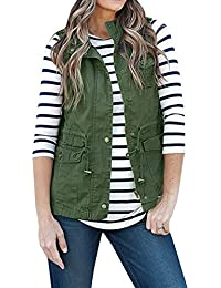 Women's Sleeveless Lightweight Pure Color Vest Jacket With Zipper & Button & Drawstring & Pockets