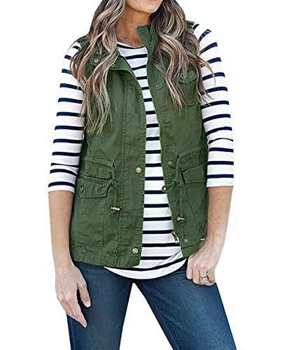 Women Vest (Women's Sleeveless Lightweight Pure Color Vest Jacket with Zipper & Button & Drawstring & Pockets (S, Army Green))