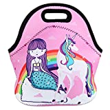 Violet Mist Neoprene Lunch Bag Tote Reusable Insulated Waterproof School Picnic Carrying Gourmet Lunchbox Container Organizer For Men, Women, Adults, Kids, Girls, Boys (Unicorn Mermaid2)