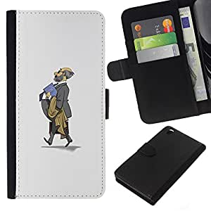 A-type (Traje Gris Calvo Profesor Escuela de Niños) Colorida Impresión Funda Cuero Monedero Caja Bolsa Cubierta Caja Piel Card Slots Para HTC DESIRE 816