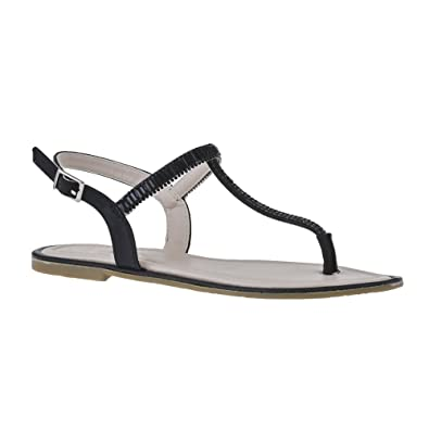 d0e3a7b88 Flat Diamante T-Bar Sandal With Toe Post And Back Strap  Amazon.co ...