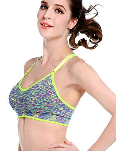 Women Fitness Yoga Stretch Tank Top Seamless Racerback Padded Sports Bra