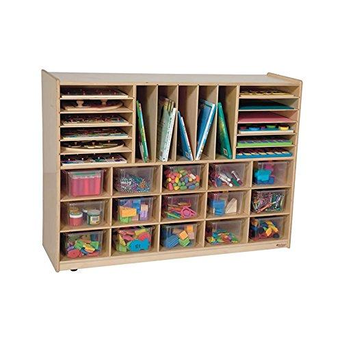 """Wood Designs WD14001 Multi-Storage with (15) Translucent Trays, 36 x 48 x 15"""" (H x W x D)"""