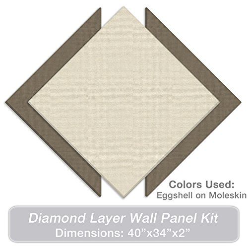 """ADW Acoustic Panels 40"""" X 34"""" X 2"""" Diamond Layer Kit – Quick Easy DIY Install - Various Color Combos Diffuser Bounce Panels"""