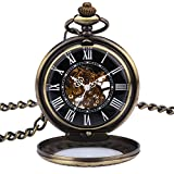 Zeiger New Mens Classic Mechanical Steampunk Pocket Watch, Stainless Steel Copper Case Skeleton Roman Design, Pocket Watch with Chain (Bronze)