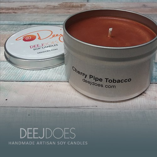 Cherry Pipe Tobacco Soy Candle by DEEJ DOES