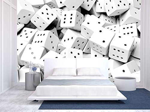Abstract Conceptual Background with Pile of Random White Dices Top View
