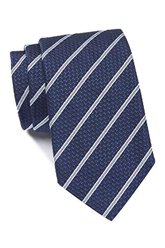 Hugo Boss Diagonal Stripe Pattern Italian Silk Tie, Navy 50397372