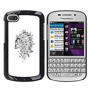 Be Good Phone Accessory // Dura Cáscara cubierta Protectora Caso Carcasa Funda de Protección para BlackBerry Q10 // Skull Indian Headgear Feather White